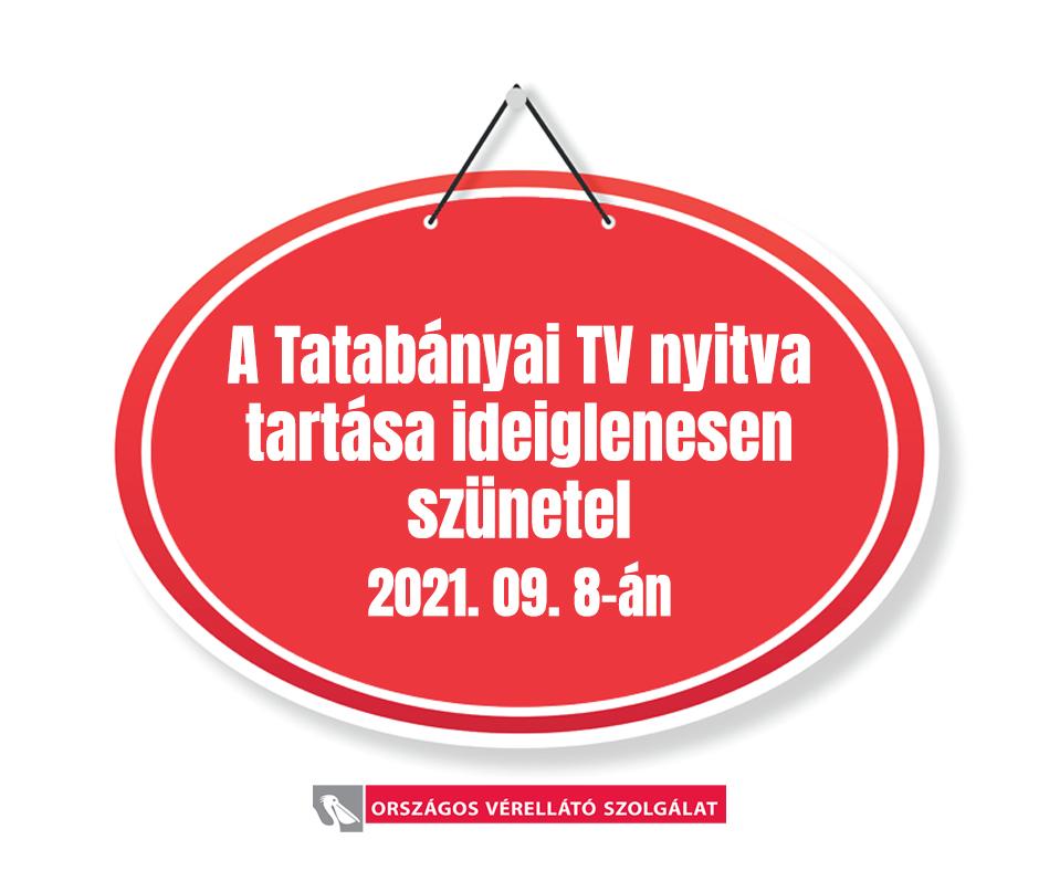 Tatabányai TV- szüneteltetett véradás